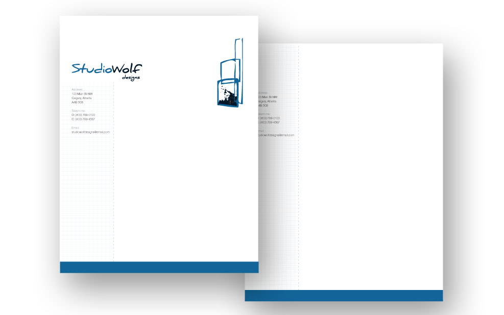 Studio Wolf Designs letterhead design first and second page.